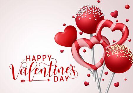 Valentinstag Süßigkeiten Vektor Hintergrundvorlage. Fröhlicher Valentinsgrußtext mit Valentinssüßigkeiten und Lutscherelementen in Herz- und runder Form mit Belägen in grauem Hintergrund. Vektor-Illustration. Vektorgrafik
