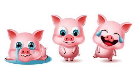 Pigs character vector set. Pig animal characters 3d elements in different pose and expressions like crying, blissful, laughing, lying, and standing isolated in white background. Vector illustration. Иллюстрация