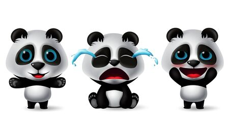Panda characters vector set. Pandas animal character in cute, crying, blissful, happy, standing and sitting pose and expressions isolated in white background. Vector illustration.