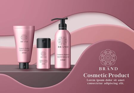 Cosmetic mock up products vector banner template. Cosmetics product moisturizing body lotion skin care for whitening and serum bottle element with pink packaging and black cap in 3d realistic design.