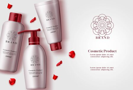 Cosmetic products vector banner template. Cosmetics product or mock up of lotion, moisturizer and sun protection bottle elements with red rose petals in white background. Vector illustration 3d realistic. Vettoriali