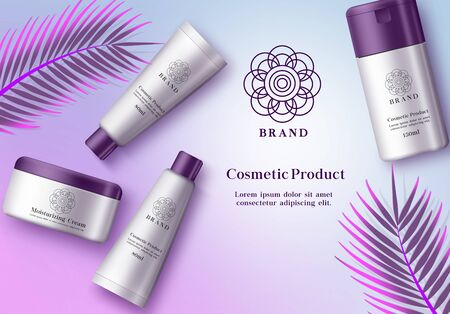 Cosmetics mock up vector banner template. Cosmetic product skin care bottle of moisturizing cream, whitening, sun protection and lotion elements in elegant packaging with violet cap and leaf in background. Vector illustration 3d realistic.
