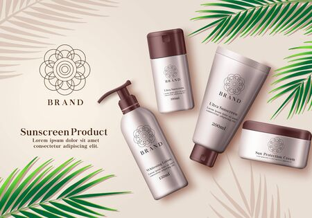 Sunscreen cosmetic product vector banner. Sunscreen mock up bottle element of whitening lotion, ultra sunscreen and sun protection cream for summer skin care advertising products with green leaf eleme