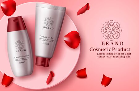 Cosmetics mock up with petals vector banner template. Cosmetic product of whitening and moisturizing skin care lotion bottle with red cap and rose elements in red background. 3d realistic vector illustration.