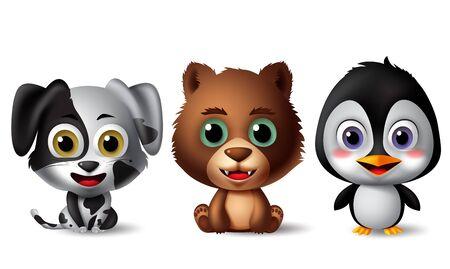 Insieme di vettore del carattere degli animali. Personaggi animali di cane, orso e pinguino in posa seduta e in piedi con espressione facciale sorridente isolata in uno sfondo bianco. Illustrazione vettoriale.