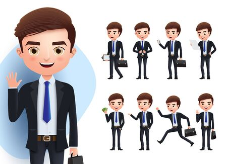 Business man vector character set. Business professional male characters in standing, waving, talking, running, walking, and reading pose isolated  in white background. Vector illustration Ilustração