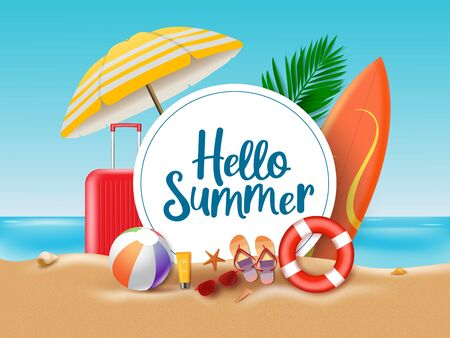 Hello summer beach vector concept. Hello summer greeting text in circle white frame with colorful beach element of umbrella, surfing board, luggage, ball, floater, sunscreen, slippers, sunglasses, star fish and sea shells in sand. Vector illustration.