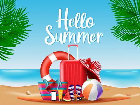 Summer season vector concept. Hello summer greeting text with summer vacation travel elements of luggage, hat, mobile phone, beach bag, sunglasses, slippers and sunscreen  in beach background. Vector illustration.