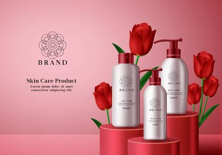 skin care cosmetics vector banner template. Cosmetic products skin care bottles of body lotion, facial wash and cream elements in elegant packaging with red tulip flower background design. Vector illustration