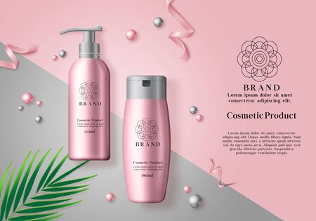 Cosmetic products vector banner template. Cosmetics mock up bottle of whitening and moisturizing products in pink packaging and elegant background. Vector illustration