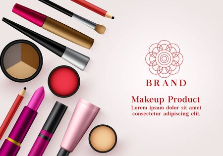 Makeup products vector banner template. Face cosmetics collection for advertising mock up beauty banner design in elegant background. Vector illustration