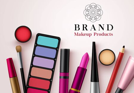 Makeup products vector template banner. Collection of face cosmetics beauty products for advertising mock up banner design in elegant background. Vector illustration