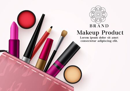 Makeup products vector template banner. Facial cosmetics collection in pink beauty kit for mock up advertising banner in elegant background design. Vector illustration