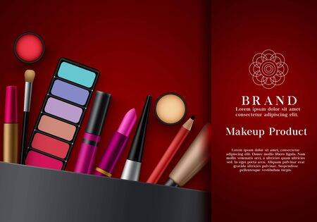 Makeup beauty products vector template. Fashion beauty cosmetics on elegant red color background for advertising banner. Vector illustration