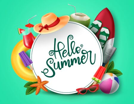 Hello summer vector banner design. Hello summer greeting in white circle for text with beach elements like beach ball, surfboard, hat, juice and sunglasses for summer vacation in green background. Vector illustration. Illustration