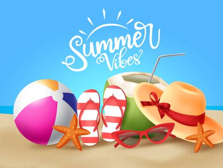 Summer vector banner design. Summer vibes greeting text with summer vacation tropical elements like beach ball, hat, sunglasses, flipflop, coconut and starfish in beach seashore background. Vector illustration. Vettoriali