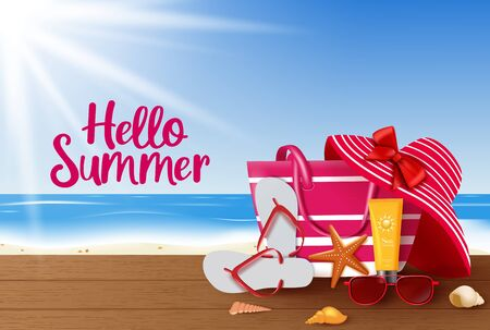 Summer vector background design. Hello summer greeting text with summer vacation travel elements like beach bag, hat, sunglasses, flipflop and sunscreen in beach background. Vector illustration.