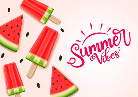 Summer water melon vector banner template. Summer vibes text with tropical fruit water melon and elements in pink background. Vector illustration.