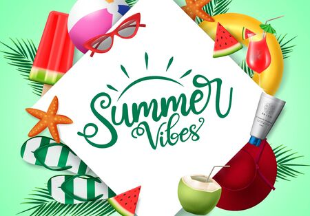 Summer vibes vector banner template. Summer vibes text with beach element of sunglasses, watermelon, hat, beach ball, floater, and sunscreen white white frame in green background. Vector illustration. Illustration