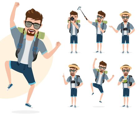 Male travel characters vector set. Man tourist traveler character in happy jumping and standing poses for summer adventure isolated in white background. Vector illustration.