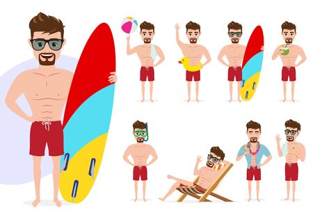 Summer male character vector set. Man characters in summer activity standing and sitting poses like holding surf board, playing beach ball and drinking coconut juice isolated in white background. Vector illustration.