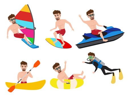 Summer activity man character vector set.  Male character in summer water sport activities like surfing, jet skiing, kayaking, boating, scuba diving and canoeing isolated in white background. Vector illustration.