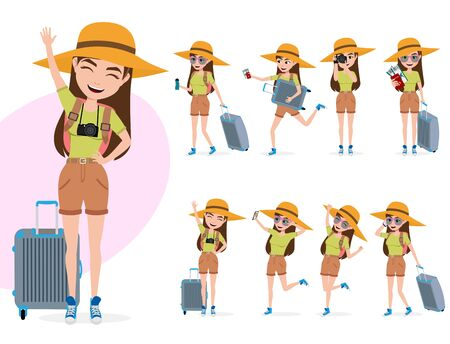 Female tourist vector characters set. Woman character in summer travel outfit in different standing poses like happy waving, walking, running, taking camera pictures and holding luggage isolated in white background. Vector illustration.