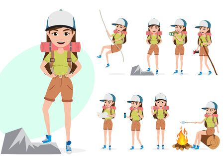 Female mountain climber vector character set. Woman hiker character in different summer hiking activities and standing poses like rope climbing, telescoping, walking and cooking isolated in white background. Vector illustration.