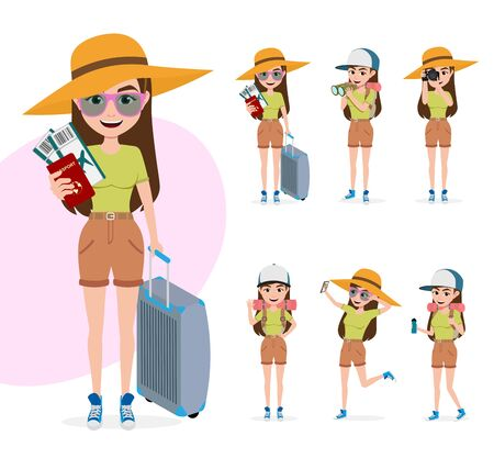 Travel woman character vector set. Tourist female character in different pose like standing while holding passport, ticket and luggage, telescoping, drinking and waving for summer vacation isolated in white background. Vector illustration.