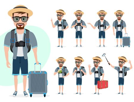 Tourist male character vector set. Man characters in summer outfit with different standing poses while holding luggage for travel vacation isolated in white background. Vector illustration.