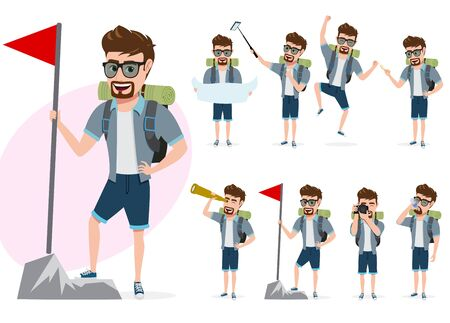 Hiking man vector character set. Male tourist climber characters in different activity poses summer adventure while standing and holding flag and map isolated in white background. Vector illustration.  イラスト・ベクター素材