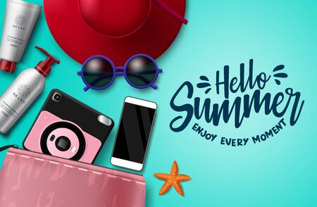 Hello summer vector banner template. Hello summer text with beach travel element like hat, sunglasses, camera, mobile phone, pouch, lotion and sunscreen in green background for holiday season. Vector illustration.