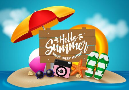 Hello summer in sand island vector design. Hello summer text in wood with beach element like umbrella, camera, flip flop, sunglasses, floater, beach ball and star fish for holiday season. Vector illustration.