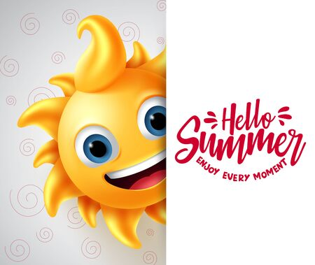 Summer vector banner template. Hello summer enjoy every moment text in white space with sun character in smiling cute face for tropical season design. Vector illustration.