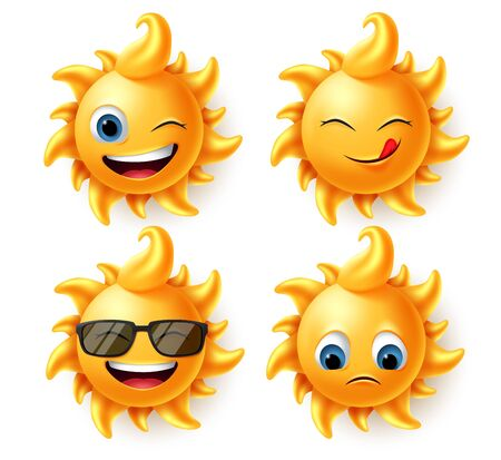 Sun summer character vector set. Sun cute characters in 3d realistic design with different expression like hungry, laughing, naughty and sad faces isolated in white background. Vector illustration. Vettoriali