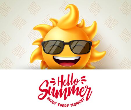 Hello summer vector banner template. Hello summer enjoy every moment text in white space with sun character smiling and wearing sunglasses element. Vector illustration.