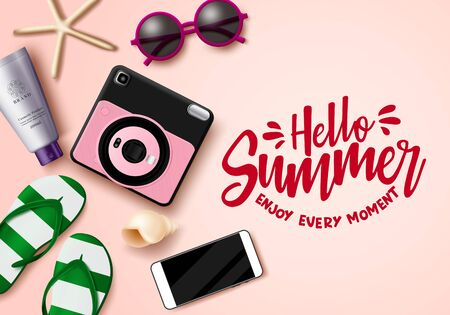 Hello summer vector banner template. Hello summer enjoy every moment text with space and travel elements like camera, mobile phone, flip flop, sunscreen, and sunglasses for beach season In pink background. Vector illustration.