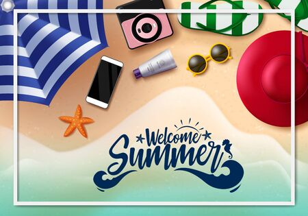 Welcome summer vector banner design. Welcome summer text with white frame and beach element like umbrella, hat, mobile phone, sunglasses, flip flop and star fish in seaside background. Vector illustration.