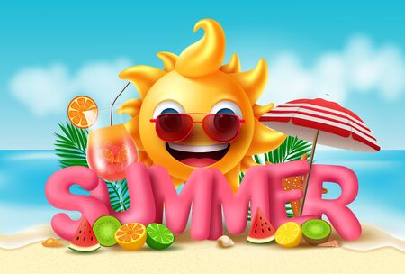 Summer vector banner design. Summer in pink 3d text with smiling sun and tropical fruits like water melon, orange, kiwi, lemon, lime and fresh juice in beach seaside background. Vector illustration.