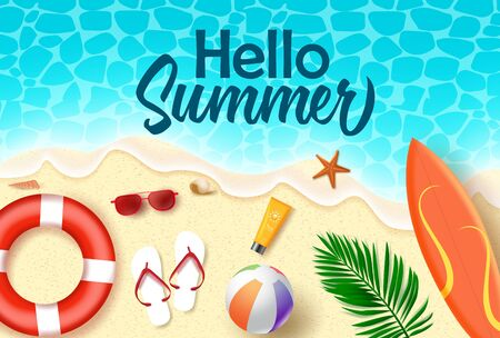 Hello summer vector banner design. Hello summer text in sea water with beach element like surf board, lifebuoy, sunscreen, beach ball, and sunglasses in seaside background for holiday season. Vector illustration.