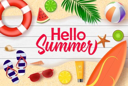 Hello summer vector banner design. Hello summer text in wood background with beach and tropical fruits like surf board, lifebuoy, beach ball, water melon, lemon, and kiwi for holiday season. Vector illustration