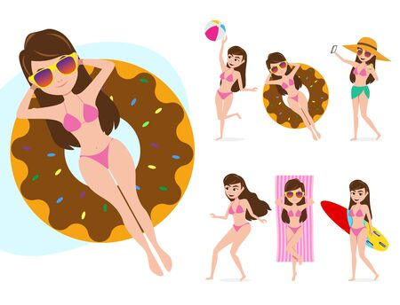 Female summer character vector set.  Woman characters in different summer activities like floating using floater donuts, playing beach ball, sun bathing and surfing isolated in white background. Vector illustration.