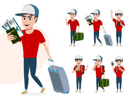 Travel male characters vector set. Man tourist character in different pose like walking while holding passport, ticket and luggage while waving for summer vacation isolated in white background. Vector illustration.