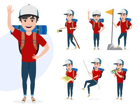 Male mountain climber vector character set. Hiker man character in different summer hiking activities like rope climbing, telescoping, walking and waving isolated in white background. Vector illustration.  イラスト・ベクター素材