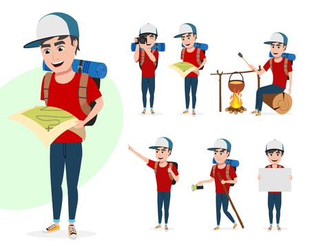 Tourist man vector character set. Male hiker characters in different activity poses summer adventure while standing and holding map, taking pictures and walking isolated in white background. Vector illustration.  イラスト・ベクター素材