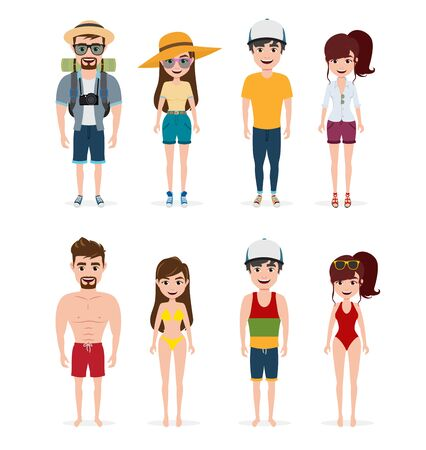 Summer characters vector set. Tourist character wearing travel and summer outfit in standing pose for vacation season isolated in white background. Vector illustration.  イラスト・ベクター素材