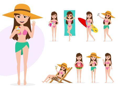 Summer female vector character set. Summer sexy woman characters in swimming outfit and activities like surfing, beach ball playing, sun bathing, relaxing in chair isolated in white background. Vector illustration.  イラスト・ベクター素材