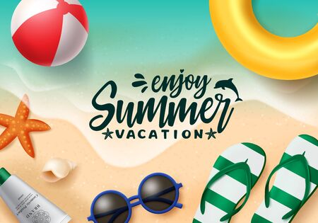 Summer vector banner design. Summer vacation text in beach seaside background with beach elements like floater, beach ball, sunglasses and flipflop for holiday season. Vector illustration.