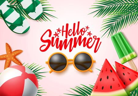 Summer vector banner design. Hello summer greeting text with colorful beach elements like sunglasses, beach ball and palm leaves for holiday season. Vector illustration.  イラスト・ベクター素材