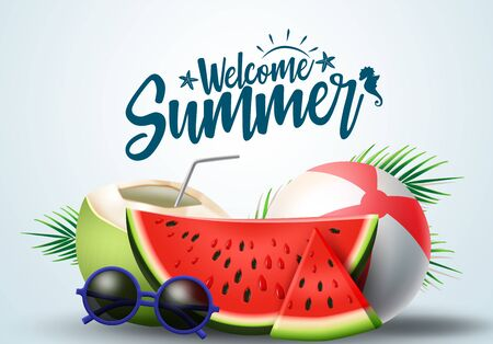 Summer greeting vector banner design. Summer welcome text with tropical fruits like watermelon, coconut juice and beach elements in white background. Vector illustration.  イラスト・ベクター素材